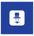 blue round button for moustache hipster movember vector image