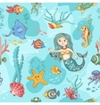 Blue seamless pattern with mermaid vector image vector image