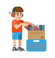 boy looking old vinyl vector image