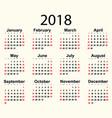 calendar 2018 year vector image vector image