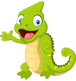 cartoon cute chameleon waving hand on white backgr vector image vector image