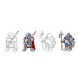 cartoon medieval confident armed knights isolated vector image vector image