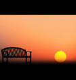chair silhouette sunset vector image vector image