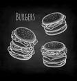 chalk sketch hamburger vector image