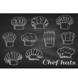Chef toques caps and hats chalk icons vector image