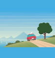 coast landscape and car on a road scene vector image vector image