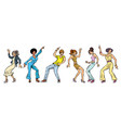 collection set young people dancing men women vector image