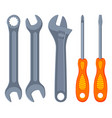 colorful cartoon wrench screwdriver set vector image
