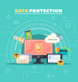 Data Protection Flat Composition Poster vector image
