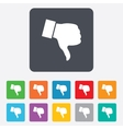 Dislike sign icon Hand finger down symbol vector image