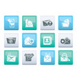 e-mail and message icons over color background vector image