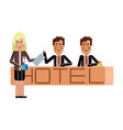 european receptionists at hotel reception desk vector image