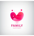family logo charity red heart and people vector image vector image