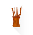 flat Chinese tea tools icon vector image