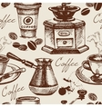 Hand drawn vintage coffee seamless pattern vector image
