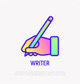 Hand with pen thin line icon writer sign