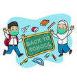 happy hand drawn student give back to school vector image vector image