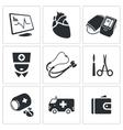 Heart disease hospital Icons Set vector image vector image