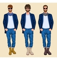 Hipster man set vector image vector image
