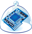 Icon of chipset under bell-glass vector image vector image