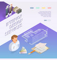 interior design services isometric project and vector image vector image