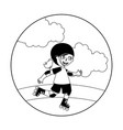 little girl with skates isolated icon vector image
