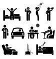 man daily routine icon sign symbol pictogram a vector image