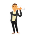 man in suit playing flute vector image