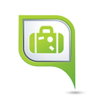 Map pointer with suitcase icon vector image