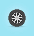 modern flat car wheel icon on blue vector image vector image