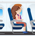 passenger on the plane seat vector image vector image