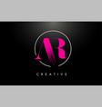 pink ar brush stroke letter logo design vector image vector image