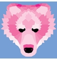 Pink low poly bear vector image vector image