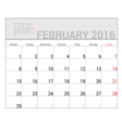 planners for 2016 february vector image vector image
