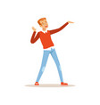 red-haired man dancing with cheerful face vector image vector image