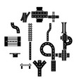 road parts constructor icons set simple style vector image