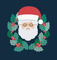 santa and wreath of merry christmas design vector image vector image