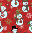 Seamless Christmas pattern with snowmen and vector image vector image