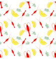 seamless seafood pattern with boiled shrimp lemon vector image vector image