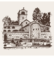 sepia hand drawing of Cetinje monastery - ancient vector image vector image
