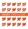set of flat design style heart emoticons vector image vector image