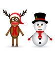 Snowman and reindeer vector image