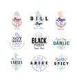 spice logo design set dill soy sauce pepper vector image