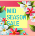 spring sale background banner with flowers vector image