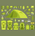 tourism travel adventure camping set hiking vector image vector image