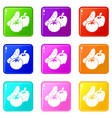 vegetables food icons set 9 color collection vector image vector image