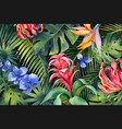 watercolor banner with tropical leaves and vector image vector image