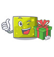 with gift square mascot cartoon style vector image