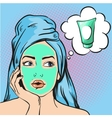 Woman with beauty cosmetic mask on face vector image vector image