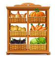 wooden cabinet with baskets and vegetables vector image vector image